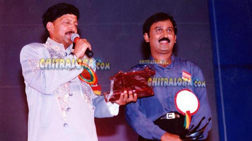 vishnuvardhan, ramesh aravind during state award function at ramanagara
