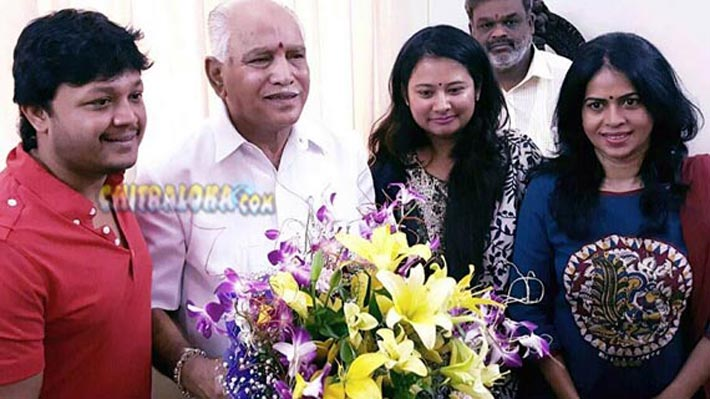 ganesh with bs yediyurappa image