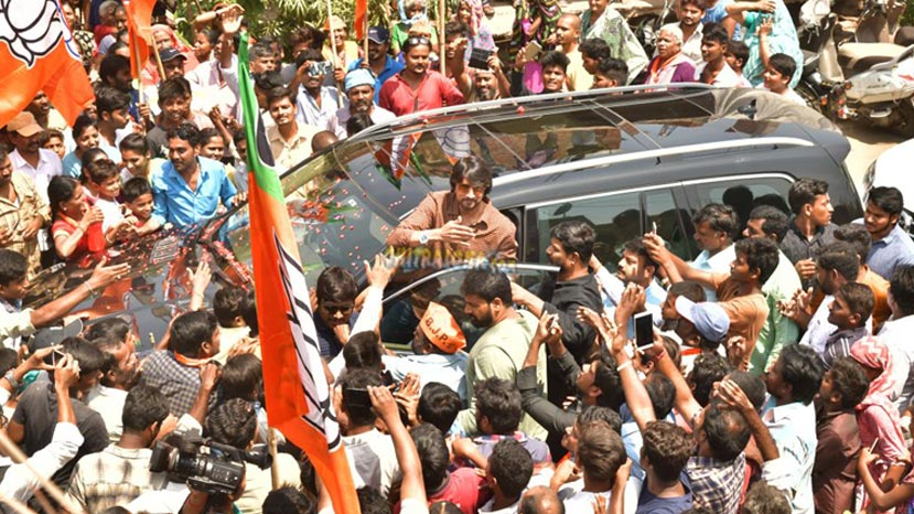 sudeep hand injured while campaigning