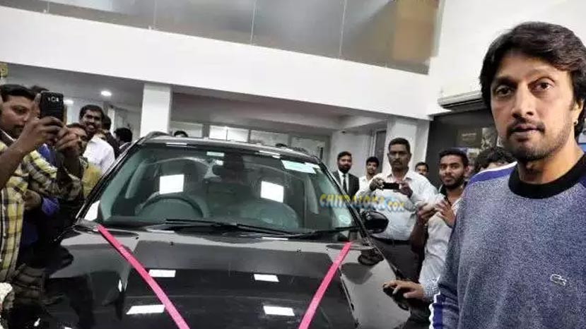 kichcha sudeep gists his neice a jeep